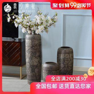 Ceramic plug dry flower art by hand big vase furnishing articles sitting room ground retro archaize TV ark simulation flower decoration