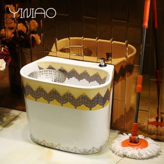 Million bird ceramics decorated mop pool small balcony large reservoir toilet stage control rotating double drive mop pool