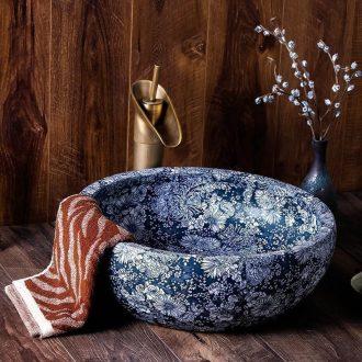 Sink on blue and white round Chinese style restoring ancient ways the hotel toilet basin of jingdezhen ceramic art dish washing basin
