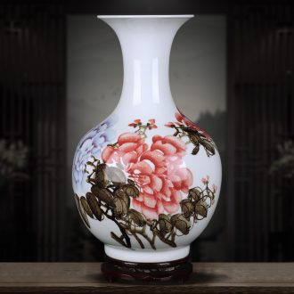 Jingdezhen ceramics hand-painted riches and honor peony vases furnishing articles sitting room porch Chinese flower arranging handicraft ornament