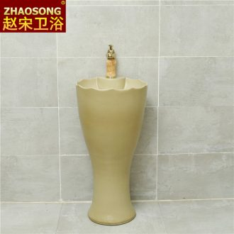 Nordic retro ceramic column basin one-piece home floor pillar lavabo is the pool that wash a face with wash basin