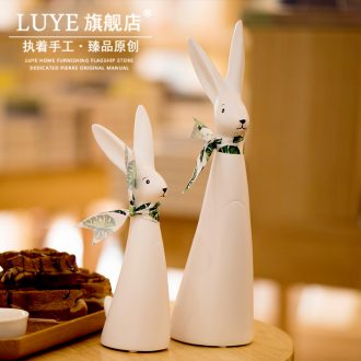 Ins bunny ceramic furnishing articles a creative lovely Nordic home sitting room adornment gift birthday gift