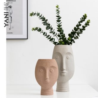 Ins the modern vase creative home furnishing articles sitting room flower arrangement art face ceramic flower decoration decoration