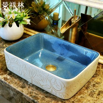 Ceramic art stage basin rectangular basin Europe type restoring ancient ways lavatory toilet lavabo, wash basin