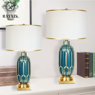 New Chinese style light luxury marriage room bedroom berth lamp of desk lamp contracted and contemporary creative Nordic ceramic sitting room adornment household
