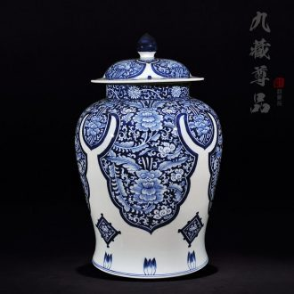 Copy a blue-and-white yuan and Ming LuLianSheng jingdezhen ceramics with cover general tank craft ornaments TV ark furnishing articles