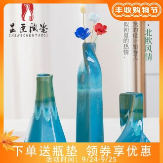 Jingdezhen ceramic vase Nordic home sitting room bedroom contemporary and contracted TV ark place small pure and fresh and decorations