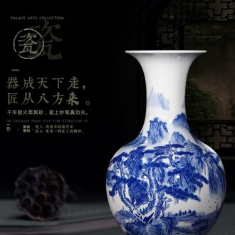 Antique blue and white porcelain of jingdezhen ceramics of large vases, flower arrangement of Chinese style living room home furnishing articles