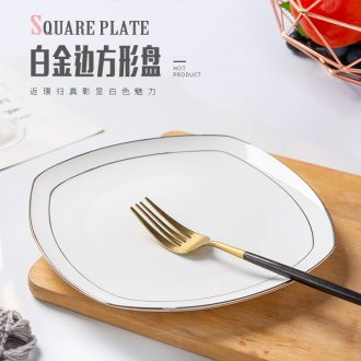 Plate light household jingdezhen European luxury bone China net red square plates special-shaped ceramic tableware Japanese creative cuisine