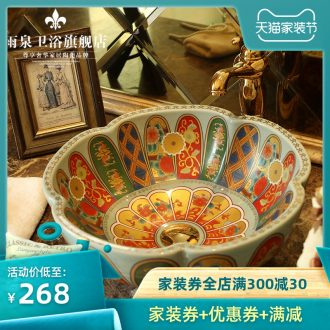 Jingdezhen handmade ceramic art basin of toilet stage basin round basin balcony lavatory sink to restore ancient ways