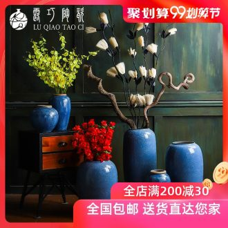 Lou qiao flower arranging large sitting room ground furnishing articles of modern American in Europe type restoring ancient ways is dried flowers of jingdezhen ceramic vase