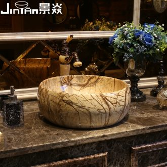 JingYan European art stage basin bathroom ceramic lavatory restoring ancient ways round basin American on the sink
