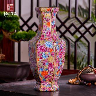 Jingdezhen ceramics powder enamel flower vase sitting room porch flower arrangement of Chinese style household decoration vase furnishing articles