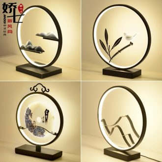 Modern Chinese style lamp creative contracted zen study ceramic new Chinese style of bedroom the head of a bed lamp antique Chinese wind
