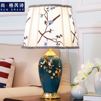American contracted colored enamel lamp study fashion warm sitting room adornment all copper ceramic creative lamp of bedroom the head of a bed