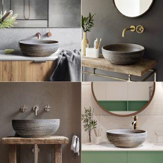 Lavatory basin simple single toilet lavabo, ceramic table small family household art basin restoring ancient ways