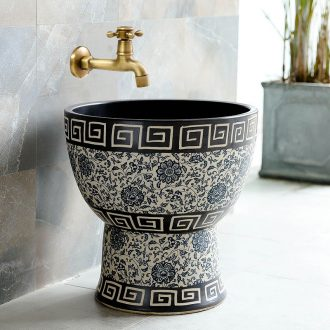 Mop pool handicraft in jingdezhen ceramic household balcony retro archaize floor size mop pool
