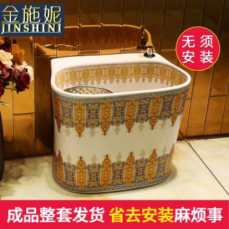 Gold cellnique european-style mop pool under automatic washing mop pool of household ceramic double balcony mop pool without driver
