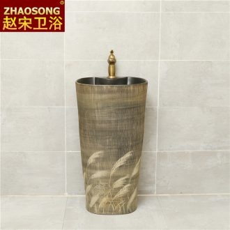 Ceramic one-piece pillar basin of Chinese style restoring ancient ways the sink console home large oval wash basin pool in the hotel