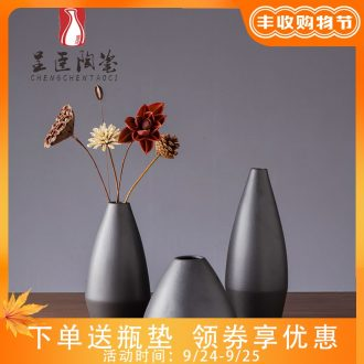 Jingdezhen flower arranging furnishing articles of contemporary sitting room porch black contracted ceramic vases, bedroom adornment dried flower vase