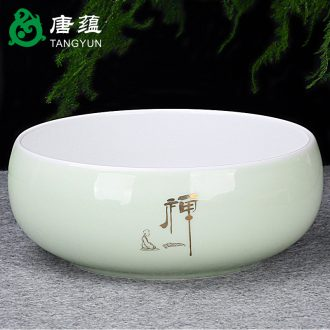 Tang aggregates ceramic green tea to wash bowl tea ceremony zero deserves six gentleman's white porcelain 6 inch embossment cup wash the writing brush washer on sale