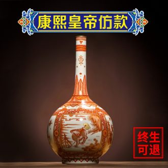 Ning antique hand-painted vases, small mouth sealed kiln chinaware sitting room adornment home furnishing articles porcelain Chinese style restoring ancient ways