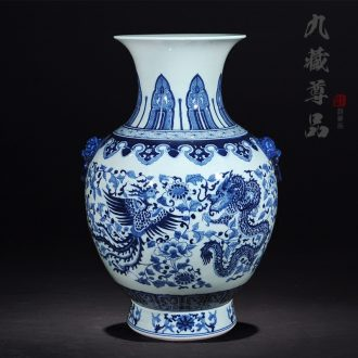 Jingdezhen ceramics antique hand-painted double lion big ears in extremely good fortune of blue and white porcelain vase sitting room home furnishing articles