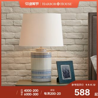 Harbor House American contemporary and contracted light delicate tracing grain ceramic desk lamp of bedroom the head of a bed Stripe