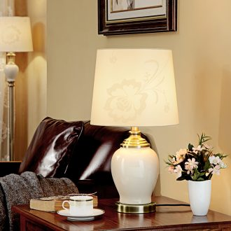 American ceramic desk lamp lamp of bedroom the head of a bed sweet contracted Europe type desk lamp of new Chinese style of contemporary sitting room is luxurious atmosphere