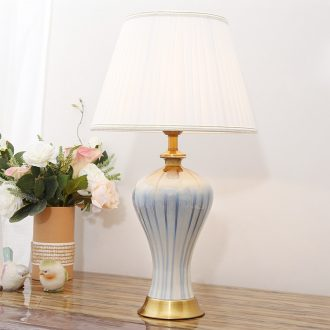 American simple desk lamp of bedroom the head of a bed new modern decoration light blue wedding ceramic lamps and lanterns of study of the luxury of the sitting room