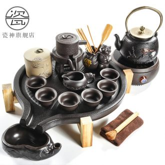 Japanese contracted household porcelain god purple sand tea set solid wood tea tray ceramic cups kung fu tea tea tea ceremony
