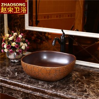 Square Europe type restoring ancient ways of pottery and porcelain of song dynasty stage basin art basin sink sink basin bathroom sinks
