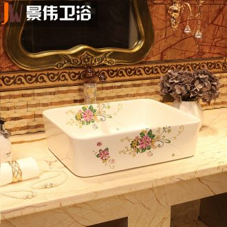 JingWei ceramic stage basin sink household toilet wash gargle rectangular small and pure and fresh art basin