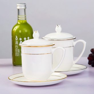 Jingdezhen bone porcelain ceramic tea set, cup hotel meeting custom home with cover glass paint edge tea cups