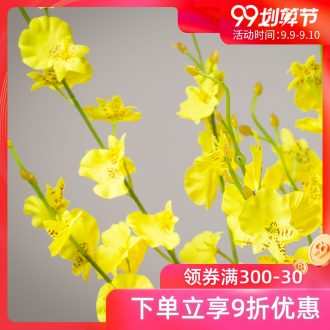 The minister ceramic dancing orchid simulation flowers yellow sitting room place vase decoration dry flower bouquets of flowers