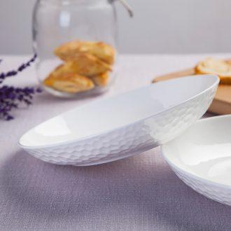 FanPan jingdezhen ceramic tableware dish plate household ceramic plate water cube creative embossed white home plate