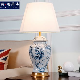 New Chinese style of blue and white porcelain ceramic desk lamp sitting room bedroom berth lamp Chinese zen hand-painted decorative warm wind full copper