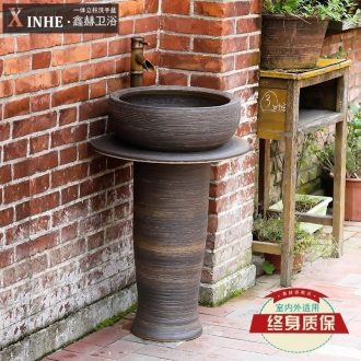 Vertical the sink basin of pillar type column ceramic bathroom toilet outdoor balcony ground the pool that wash a face basin