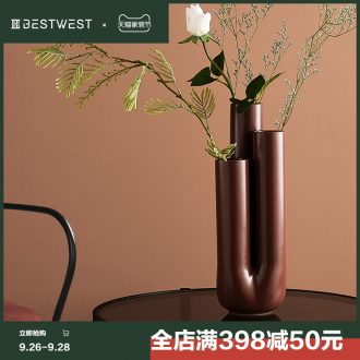 BEST WEST geometric creative ceramic vase light luxury furnishing articles of modern designer example room sitting room adornment