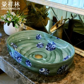 Oval large lavatory basin basin ceramic art basin square toilet lavabo Europe type restoring ancient ways