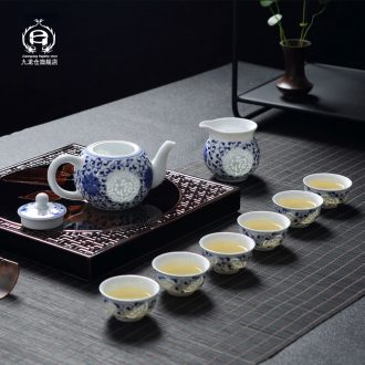DH jingdezhen blue and white porcelain and exquisite porcelain kung fu tea set suit household ceramic teapot master cup of a complete set of cups