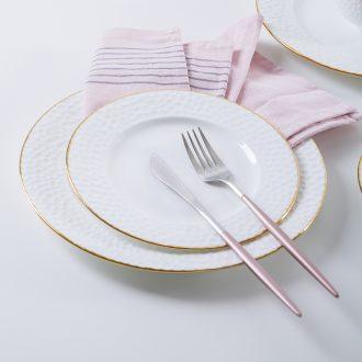 Jingdezhen ceramic tableware phnom penh dish creative home plate ceramic flat beefsteak dish circular plate