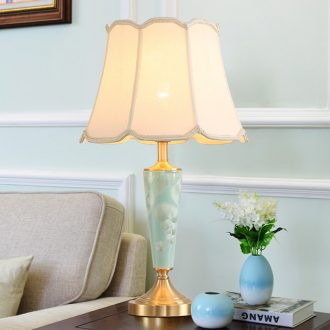 The Plato American full copper ceramic desk lamp LED contracted warmth of bedroom the head of a bed, creative personality chandeliers
