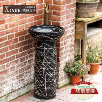Lavabo jingdezhen ceramic basin of pillar type washs a face small column balcony toilet archaize hotel art basin restoring ancient ways