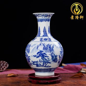 Jingdezhen ceramics antique landscape of blue and white porcelain vase flowers in contemporary household living room decoration decoration