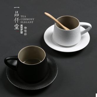 Yipin thousand hall creative female coarse ceramic mug with spoon simple personality with a cup of Japanese ceramic coffee cup set