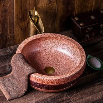 Jingdezhen ceramic sink the stage basin restoring ancient ways round carving antique bathroom toilet art basin basin that wash a face