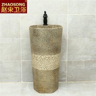 Nordic retro archaize ceramic basin of rib pillar toilet lavabo balcony column basin courtyard sink