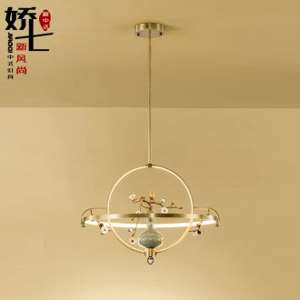 New Chinese style droplight copper sitting room lights all zen squid ice crack ceramic vase study bedroom villa China lamps and lanterns