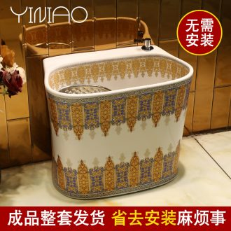 Million birds european-style mop pool under automatic washing mop pool of household ceramic double balcony mop pool without driver